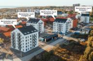 Områdesbeskrivning med Marmorlyckans hus markerade. Bild med illustration.